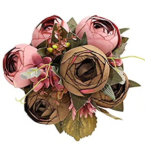 Luyue Vintage Artificial Peony Silk Peonies Fake Flowers Wedding Bouquet Home Floral Decor (Pack of 1)-Vintage Cameo Brown