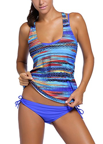 Sidefeel Women Tribal Printed Tankini 3 Piece Swimsuit Set Large Blue