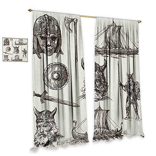 homefeel Viking Room Darkening Wide Curtains Ancient War Figures Sword Shield and Warriors Mask Dragon Head Ship Medieval Blackout Draperies for Bedroom W96 x L96 Dark Brown White -