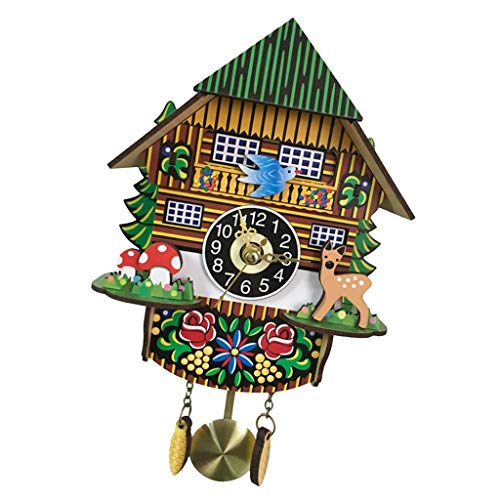 Flameer Cuckoo Clock-3D Pendulum Wall Clock Optical Illusion Clock Decorative Hanging Clock for Living Room/Office/Cafe - A
