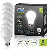 LED Bulbs Pack of 6 - A19 E27 7w Brightest 60W Soft White 3000k Light Bulb (Package May Vary)