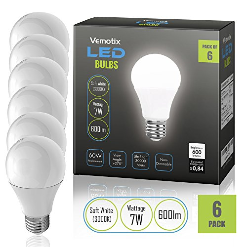 LED Bulbs Pack of 6 - A19 E27 7w Brightest 60W Soft White 3000k Light Bulb (Package May Vary) (Buy A Hoverboard)