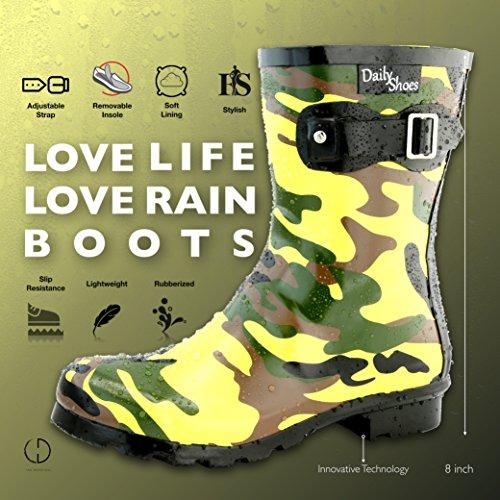 DailyShoes Damen Mittelkalb Schnalle Ankle High Hunter Regen Round Toe Rainboots Tarnung