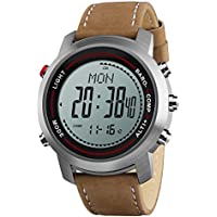 Men Digital Sports Watches with Compass Pedometer Altimeter Barometer Military Waterproof Wristwatch with Leather Band - Silver/Brown