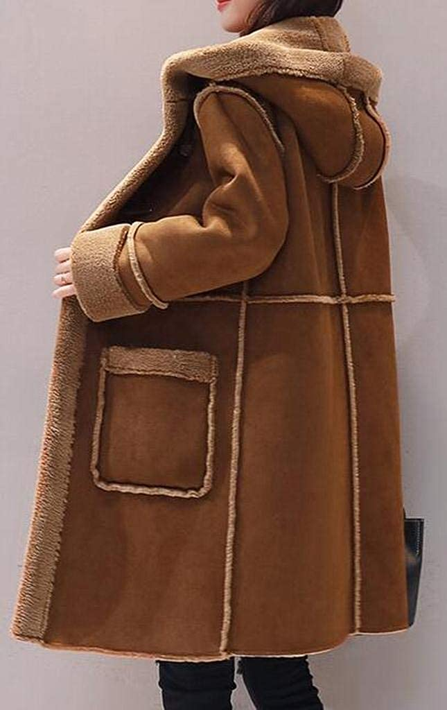 WAWAYA Womens Hoodie Faux Suede Fleece Lined Winter Warm Jacket Coat Overcoat Outerwear