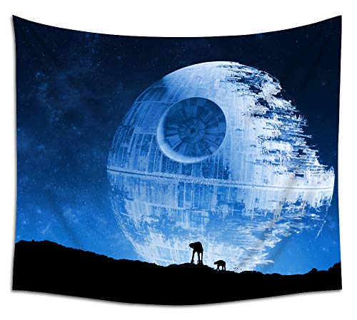 Jacoci Blue Death Star Wall Tapestry Hanging Cool Design for Bedroom Living Room Dorm Handicrafts Curtain Home Decor Size 50x60 Inches]()