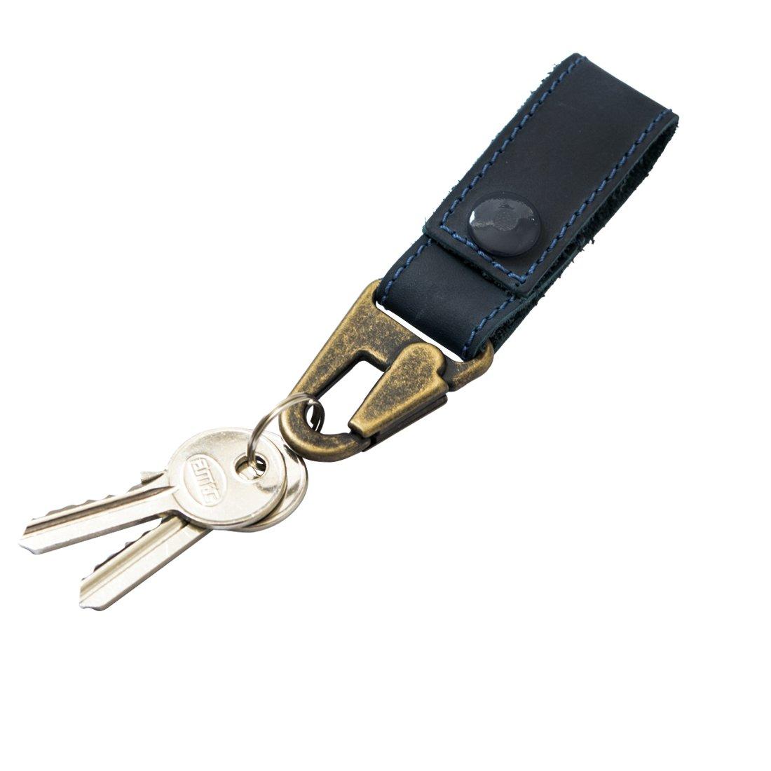 Rustic Leather Key Ring Holder Handmade by Hide & Drink :: Slate Blue