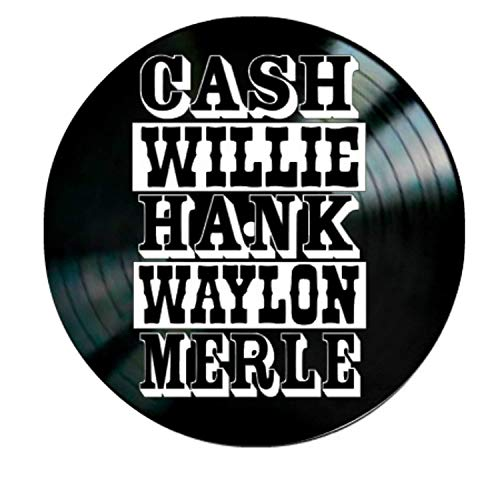 Artwork of Country Music's Greatest Artists Cash, Willie, Hank, Waylon, Merle Names on a Vinyl Record Wall Decor]()