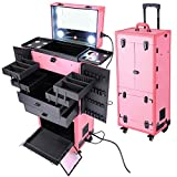 Rolling Cosmetics Makeup Case w/ Light & Mirror Pink