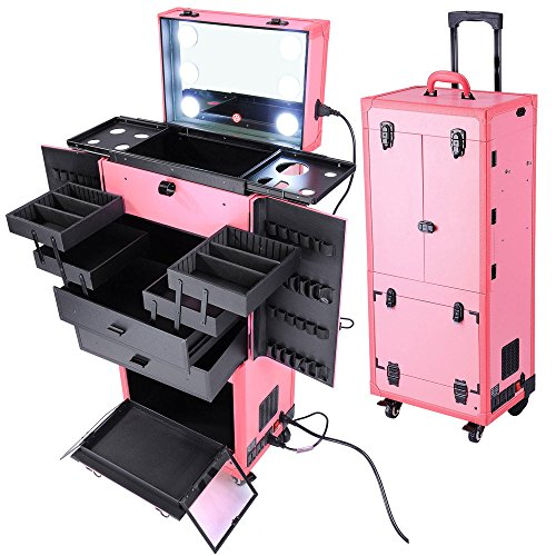 Rolling Cosmetics Makeup Case w/ Light & Mirror Pink by Access Store