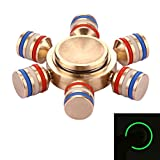 Steel Fidget Spinner Toy Stress Reducer Anti-Anxiety Toy for Adults and Children, 1.5/ 3/ 4/ 5 Minutes Rotation Time, Big Steel Beads Bearing (1.5 Minutes, Six Leaves with Fluorescent Light)
