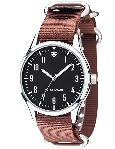 Yves Camani Unisson Mens Quartz Watch Silver Black Analog Display 2 Nylon Nato-Straps YC1084-A