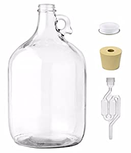 Home Brew Ohio1 gal Jug With Twinbubble Airlock, Metal Cap, #6 Drilled Stopper