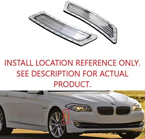TopPick 63147203265-63147203266-C Bumper Reflector Lights FOR BMW F10 5-Series 2011-2014 Clear//Chrome