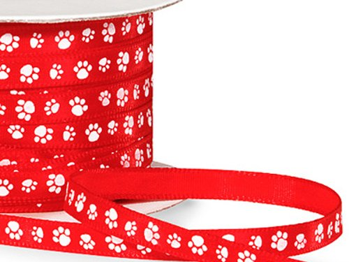 Single Faced Satin Paw Print Ribbon 1/4