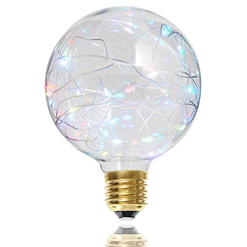 G95 Vintage String Fairy LED Bulb Colorful LED Lamp E27 Filament Starry Lamp Home Decorate Edison Globe Lighitng(G95, Multi-Color)