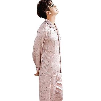 Pijamas Seda para Hombres Rosa Claro Ropa de Dormir de Manga Larga Ropa de Dormir de