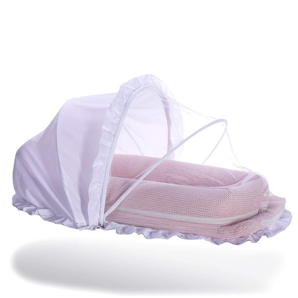 軽量ポータブルベビーベッド 赤ちゃん新生児と幼児のラウンジとキャノピーとジム、ポータブルバシネット、共に眠るための巣、おなかの時間とラウンジ、ピンク   B07L2T6Z9K