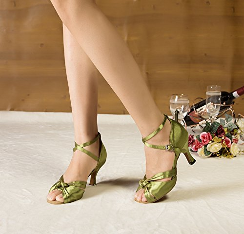 Dance Minitoo Grün Knoten Damen Shoes Satin p0TZPq4