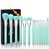 Qivange Makeup Brushes, Synthetic Bristles Professional Blending Brushes with Box(Teal, 15 PCS)