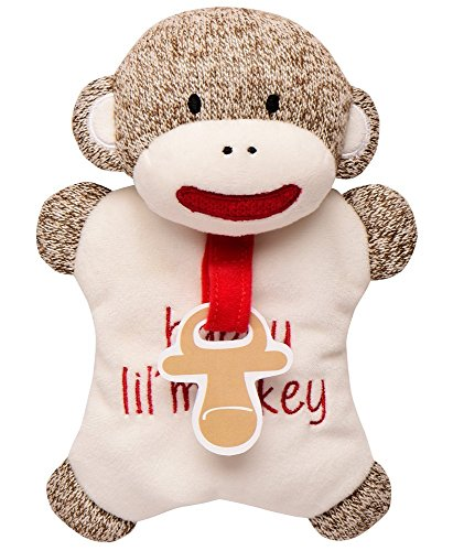 Baby Starters Sock Monkey Paci Plush Toy, Brown/Ivory, 7""
