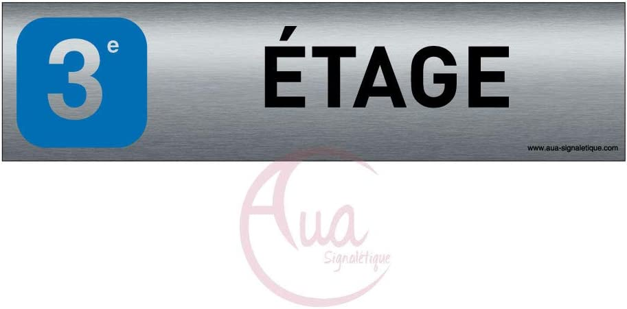 Double Face adh/ésif au dos 200x50 mm AUA SIGNALETIQUE chaufferie Plaque de porte Aluminium bross/é imprim/é AluSign