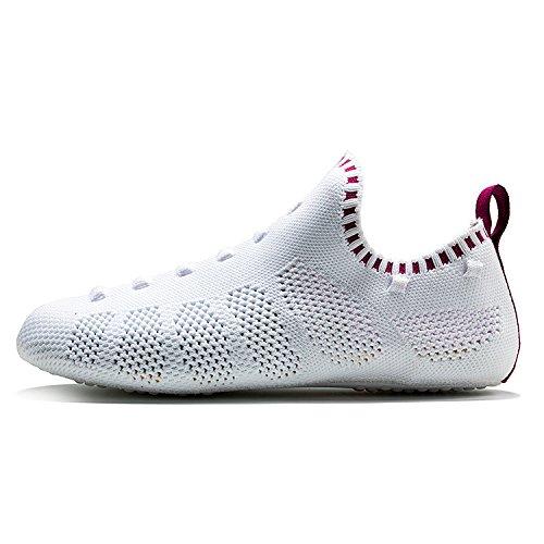 Onemix Mænds Kvinders Sneakers Letvægts Åndbar Udendørs Travesko Sok-lignende Sneakers C-vin Rød / Hvid mpdbbq