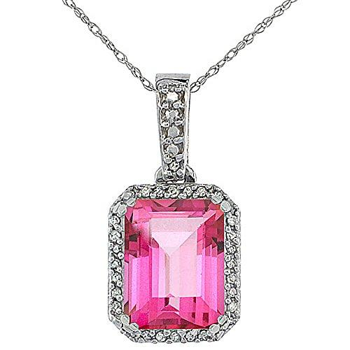 Or blanc 9Ct Topaze Rose Naturel Pendentif octogone 9x 7mm et Accents de diamant