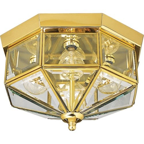 Brass Ceiling Flush Mount (Progress Lighting P5789-10 Octagonal Close-To-Ceiling Fixture with Clear Bound Beveled Glass, Polished Brass)