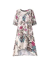 Clearance! Womens Vintage Floral Printed Irregular Dresses Plus Size, Casual O-Neck Short Sleeve Linen Dresses M-5XL