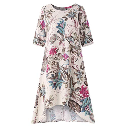 O-Neck Casual Short Sleeve Dress Womens Floral Printed Irregularity Vintage Hot Pink