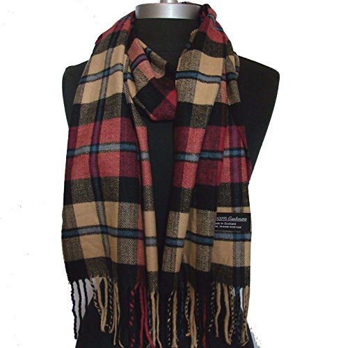 new-100-cashmere-scarf-rose-camel-black-check-plaid-wool-soft-unisex-general-c09