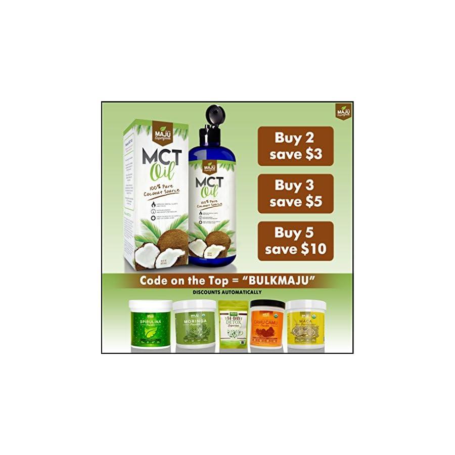 MAJU's MCT Oil Premium C8 & C10 Fatty Acids, ZERO Aftertaste, 100% Coconut, Coffee Friendly, Non GMO