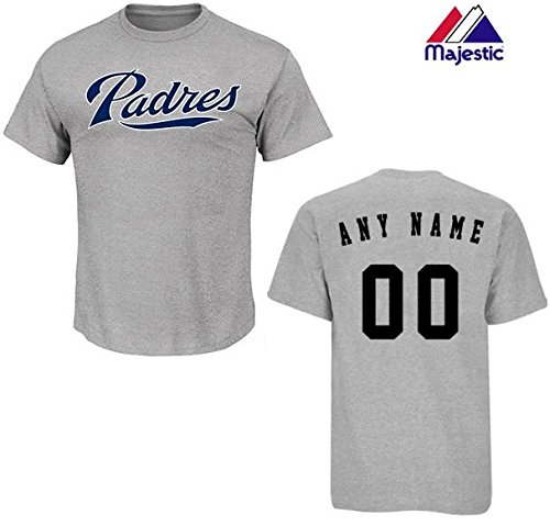 - Majestic Athletic Custom Youth Large Heather Grey San Diego Padres MLB Licensed Cotton Crewneck Replica Jersey T-Shirt