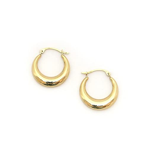 a3f79af2d25cf 14k Yellow Gold 2mm Small Graduated Polished Hoop Earrings, 0.7