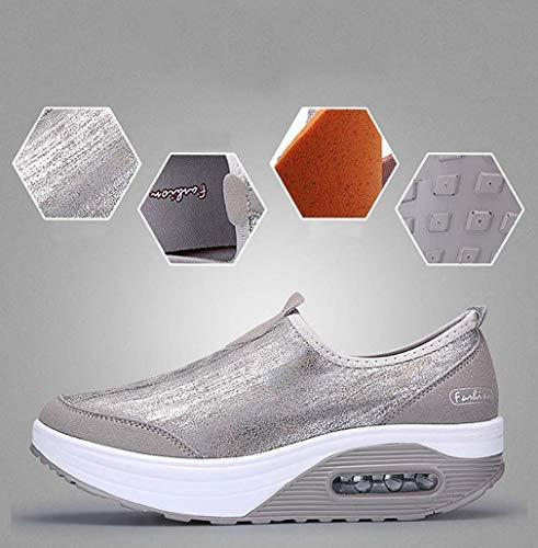 7 mit Sneakers Damen Keilabsatz Lederoptik Walkingschuhe Grau Laufschuhe Sport Solshine Fitnessschuhe qTvEv