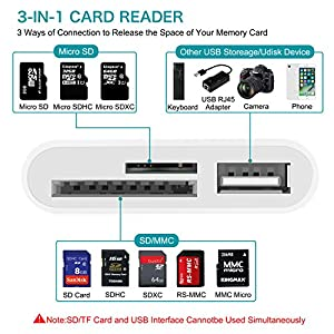 FA-STAR SD Card Reader, Digital Camera Reader Adapter Cable, Lightning to USB Camera Adapter, SD/TF Card Reader, Trail Game Camera Viewer for iPhone/iPad, No App Required, Plug and Play from FA-STAR