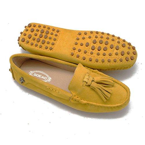 Pompon Sport De Pois Jaunes Femmes Mocassin Chaussures Travail Appartements Suède De Cuir De Chaussures Meijili Conduite wEgqZ5wd