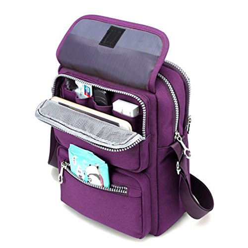 Travel Bag Purple Bag Passport JOSEKO Messenger Purse Pocketed Shoulder for Bag Bag Women Dark Multi Crossbody Nylon a7TvT