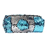 ICOSY Sequin Pencil Case Mermaid Cosmetic Bags Sparkly Pencil Bag Girls Brush Organizer Reversible Sequin Pencil Pouch Glitter Makeup Bags for Women