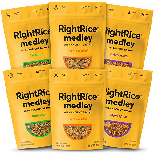 RightRice Medley Variety Pack (7oz. Pack of 6) - Made from Vegetables - Ancient Grains and More Veggies, Vegan, non GMO, Gluten Free