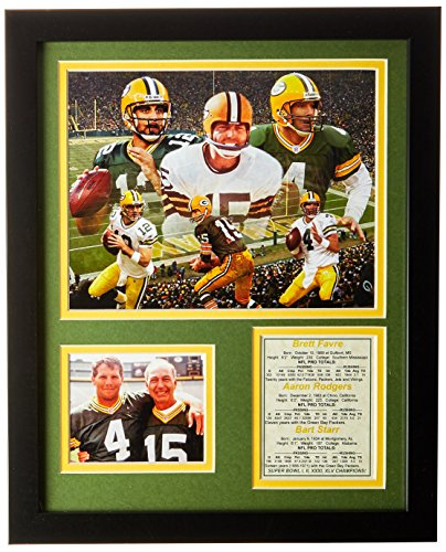 Green Bay Packers Plaque - Legends Never Die Green Bay Packers QB's Framed Photo Collage, 11x14-Inch