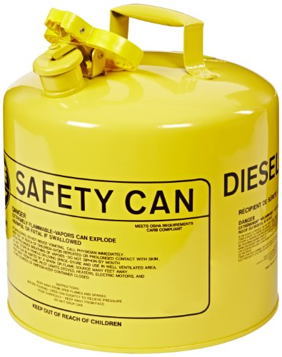 Eagle UI-50-SY Type I Metal Safety Can, Diesel, 12-1/2'' Width x 13-1/2'' Depth, 5 Gallon Capacity, Yellow by Eagle