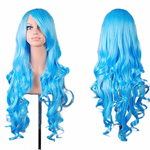 [Rbenxia Curly Cosplay Wig Long Hair Heat Resistant Spiral Costume Wigs Light Blue 32