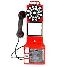Telephone Hanging Decoration Iron Painted red red Bar Window Decoration Size 20 * 11 * 47cm