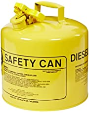 """Eagle UI-50-SY Type I Metal Safety Can, Diesel, 12-1/2"""" Width X 13-1/2"""" Depth, 5 Gallon Capacity, Yellow"""