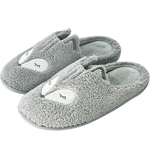 Fox Slippers Indoor Women's Animal Grey Home Bedroom Tuoup PU5Cwx7qx