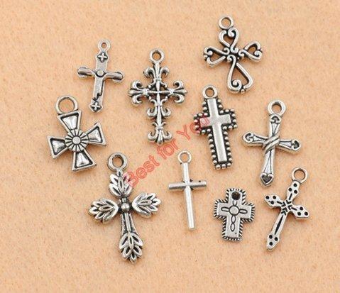 (10 Mixed Tibetan Silver Plated Cross Christian Charms Pendants (NS573 C029))