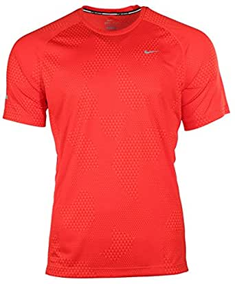 Nike Men's Dri-Fit Printed Miler Running Shirt-Red-Medium