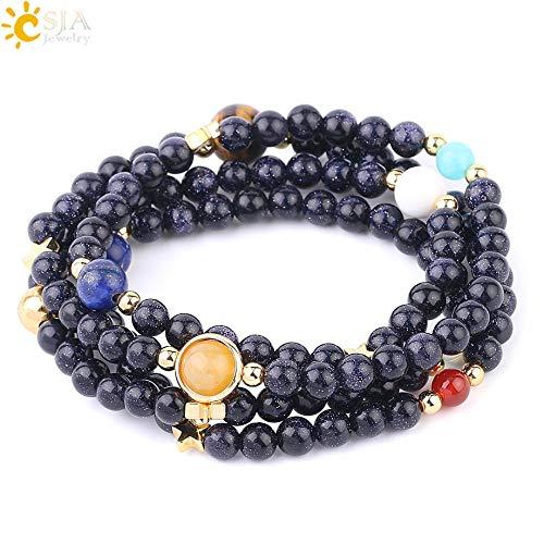 (Zozu CSJA Universe Planet Beads Bracelets Gems Stone Wrap Bangle Natural Solar System Energy Bracelet Men Women 2018 Jewelry F591)